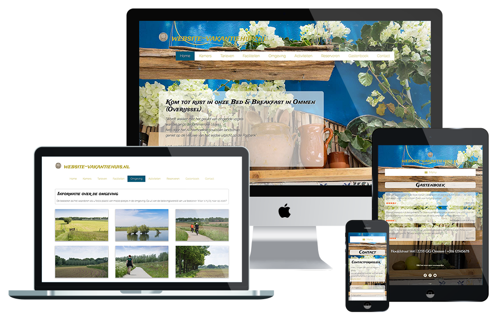 Voorbeeld website Bed & Breakfast